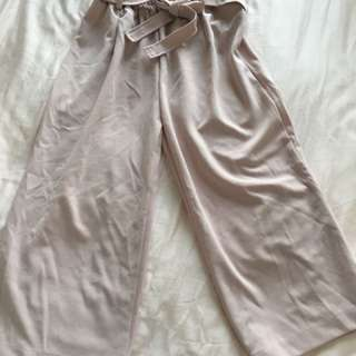 Pink wide leg quarter pants