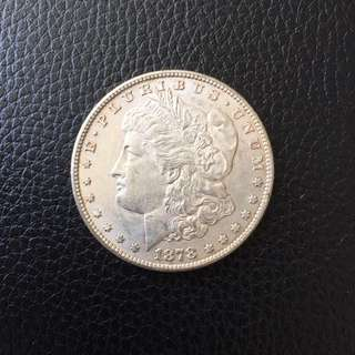 USA Morgan UNC 1878 S 7TF silver dollar