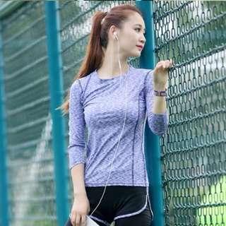 紫色中碼長袖瑜珈衫上衣