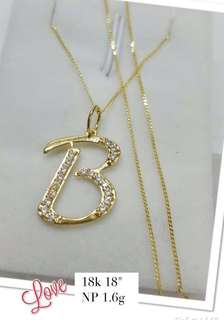 18k saudi gold necklace (initial pendant)