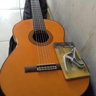 gitar akustik yamaha c80 original + bonus capo + soft case + hard case