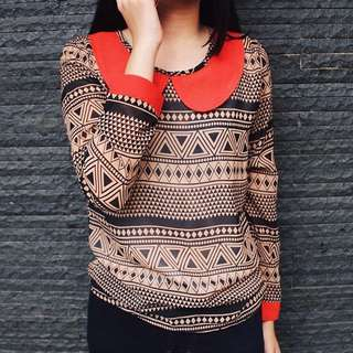 Red collar Tribal blouse