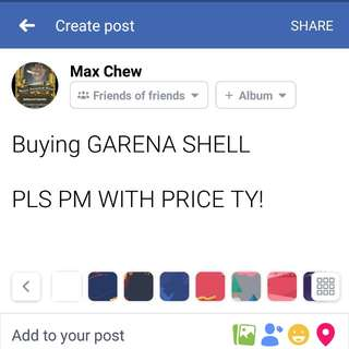 B>GARENA SHELL PM ME TY