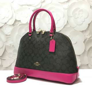 Coach #F58287Signature Sierra Satchel (Brown-Bright Fuchsia) size 34-24x25x12cm