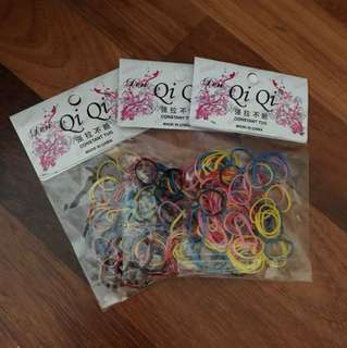 Colourful hair rubber bands