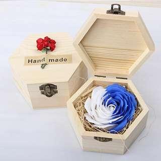 華麗香皂玫瑰*雪花藍 配木製禮盒