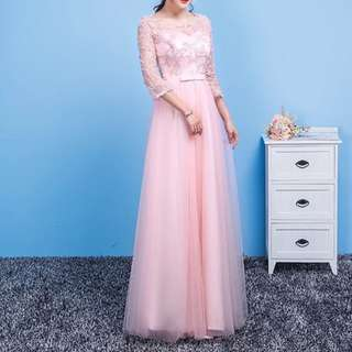 Translucent sleeve design pink dress / evening gown