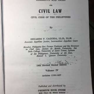Comments and Cases in Civil Law Volume IV - Caguioa