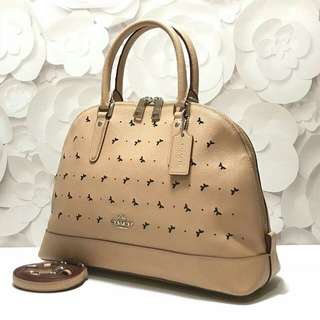 Coach #F59344Perforated Leather Sierra Satchel (Beechwood) size 34-24x25x12cm