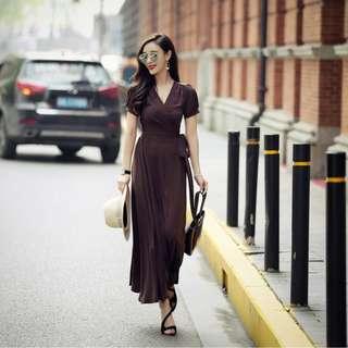 Elegant Puffy V Neck Long Dress
