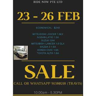 $240 Economical Cars 23-26 Feb Weekend Sale