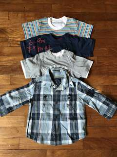 6-9 month bundle of tshirts and shirt for baby boy