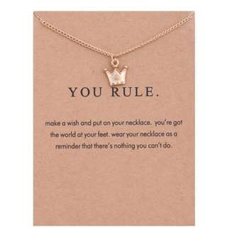 """You Rule"" gold color necklace"