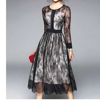 Ladies - Lace Overlay Dress L1697