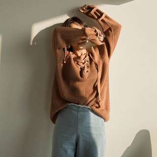🚚 綁帶交叉針織毛衣/焦糖色/購於mercci22