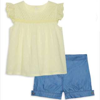 PRIMARK BABY GIRL LEMON TOP & SHORT SET