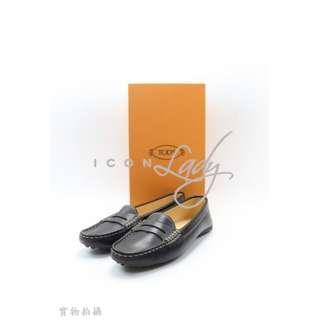 TOD'S 黑色皮革 配灰色手工縫粗線 豆豆鞋 平底鞋
