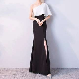 Dual tone black white open slit dress / evening gown