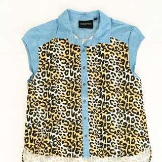 MinkPink leopard button down shirt
