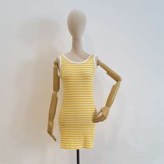 Stripe Yellow Midi Dress