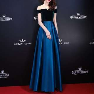 Dual tone navy blue dress / Evening Gown
