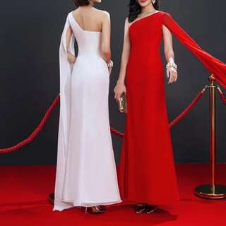 One shoulder design red / white dress / evening Gown