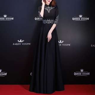 Black Long Dress / qipao cheongsam design / evening gown