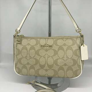 Coach Top Handle Signature Khaki Chalk (with Long Strap and Short Strap)