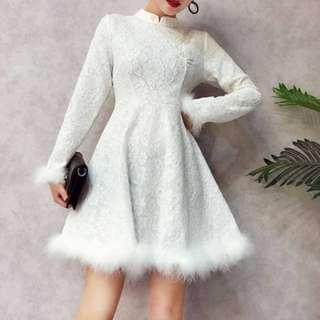 Fur pearl ladies dress