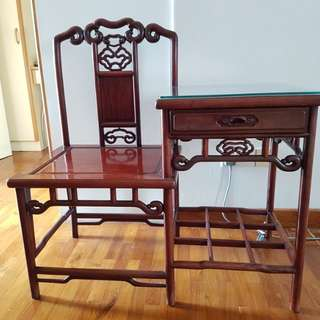 Rosewood Tel Table w Glass Top