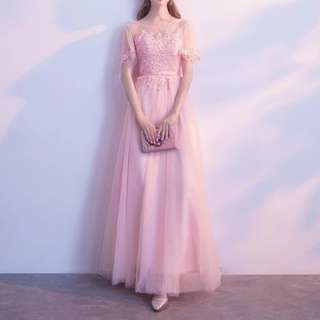 Keyhole back pink dress / Evening Gown