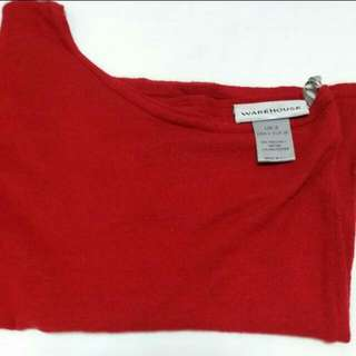 WAREHOUSE RED Long Sleeve One Shoulder Top. New. Original Price $99. It has one long sleeve. Small size. Nice Deep Red Colour. Thank you.