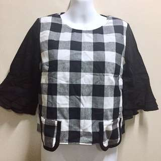 Black White Plaid Grid Linen Cotton Blouse with Pockets