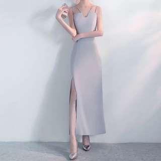 Strap design open slit grey dress / evening gown