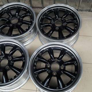 16x7jj lubang 114 black racing rim 2pis