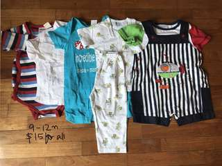 9-12 month bundle of shirt, rompers, dungarees for baby boy