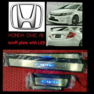 Honda Civic FB scuff plate with LED