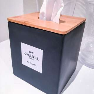 Brand new ceramic chanel tissue box black with timber lid