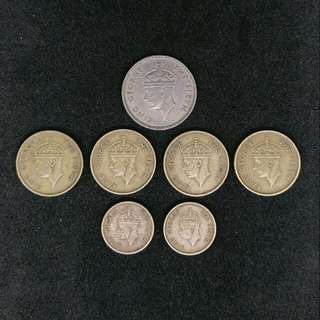 1948-1951年 King George VI 香港硬幣共7個