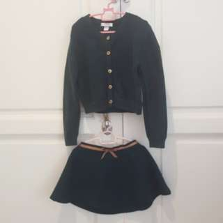 Dark Green Sweater & Skirt One Set