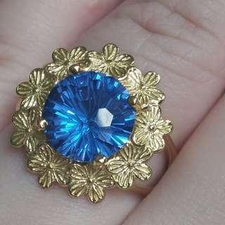 Natural Fireworks Blue Quartz Crystal Flower Ring