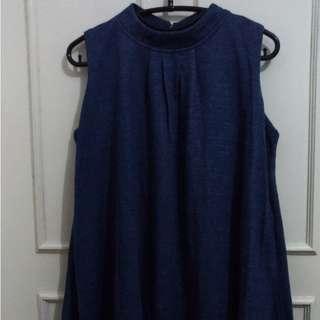 Maxi dress biru murah