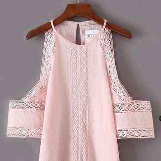 Pink Lace Off Shoulder Top
