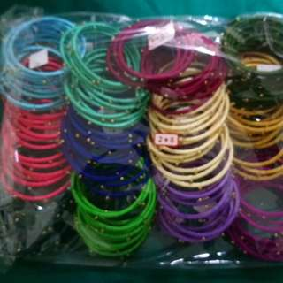 Thread Bangles with Beads
