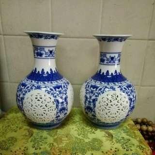 篮彩通花瓶 高25 x 16 cm (1对)