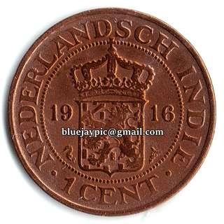 Netherlands East Indies 1916 1 cent NEDERLANDSCH INDIE coin-00100