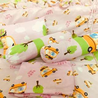 Baby Bedding Set (Bolsters x 2, Pillow, fitted bed sheet, comforter, cot protector)