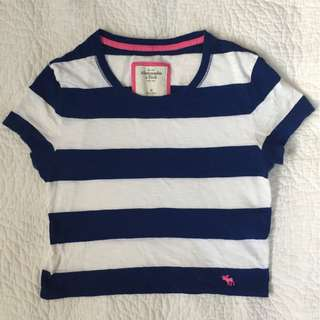 AMBERCROMBIE AND FITCH - Iris Top Cropped Womens Navy Striped Crop Tee Shirt