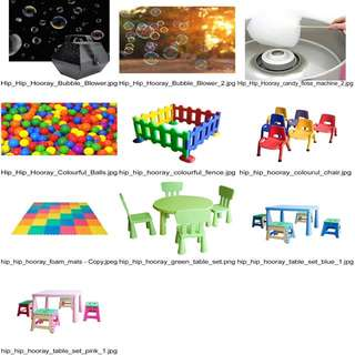 Party Extra - Helium Balloons, Party Bags, Kids Chairs/Stools/Table Set, Colourful Air-filled Balls, Playmats/Floor Mats/ Foam Mats, Rotating Fans, Adult Table/Stools Set, Kids Plastic Fence, Bubble Machine