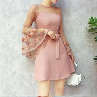 Trumpet sleeve dress